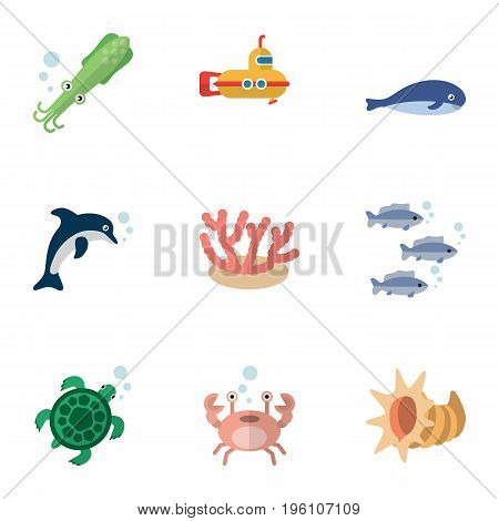 Flat Icon Marine Set Of Tortoise, Tuna, Cancer And Other Vector Objects