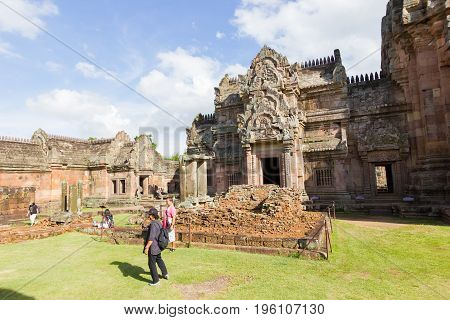 BURI RAM THAILAND - JULY 8 : unidentified tourists visit Prasat Hin Phanom Rung on July 8 2017 in Buri Ram Thailand.