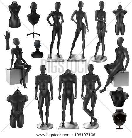 Retail window display black realistic fashion female male full body and partial mannequins collection isolated vector illustration