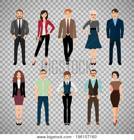 Casual office people vector illustration. Fashion business men and business women persons group standing isolated on transparent background