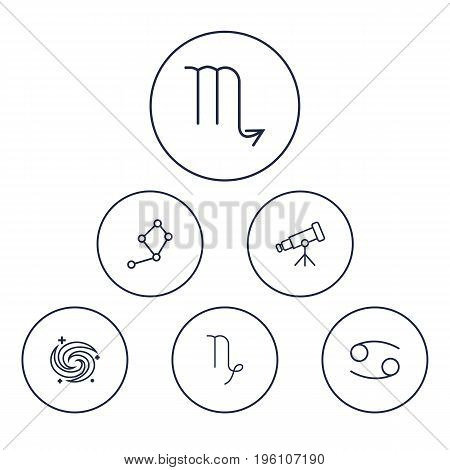Set Of 6 Astronomy Outline Icons Set