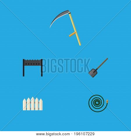 Flat Icon Dacha Set Of Barbecue, Wooden Barrier, Cutter And Other Vector Objects