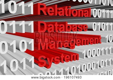 Relational database management system in the form of binary code, 3D illustration