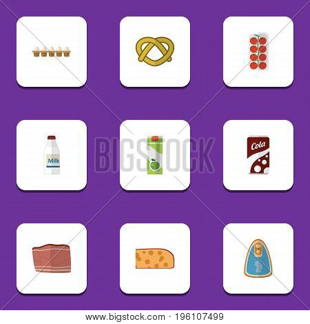 Flat Icon Eating Set Of Beef, Bottle, Canned Chicken And Other Vector Objects
