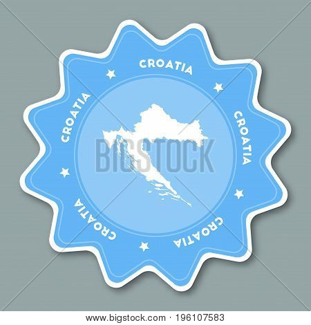 Croatia Map Sticker In Trendy Colors. Star Shaped Travel Sticker With Country Name And Map. Can Be U
