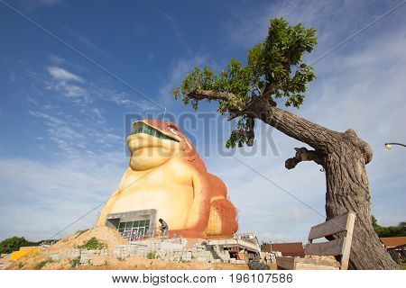 YASOTHON THAILAND - JULY 9 : construction of toad museum at Phaya Thaen Public Park on July 9 2017 in Yasothon Thailand. Big Statue toad is landmark travel in yasothon
