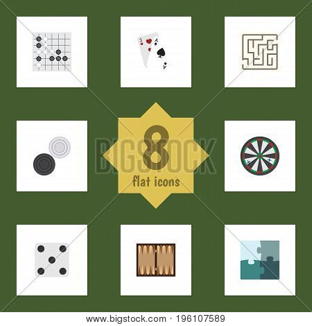 Flat Icon Games Set Of Dice, Arrow, Gomoku And Other Vector Objects