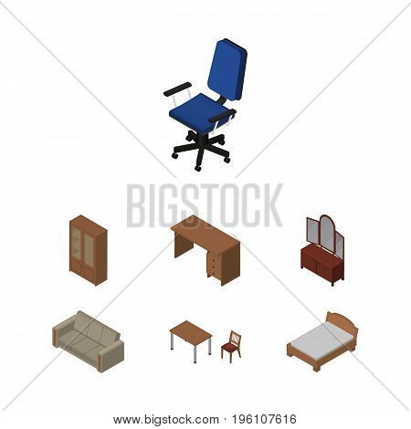 Isometric Furniture Set Of Couch, Bedstead, Chair And Other Vector Objects