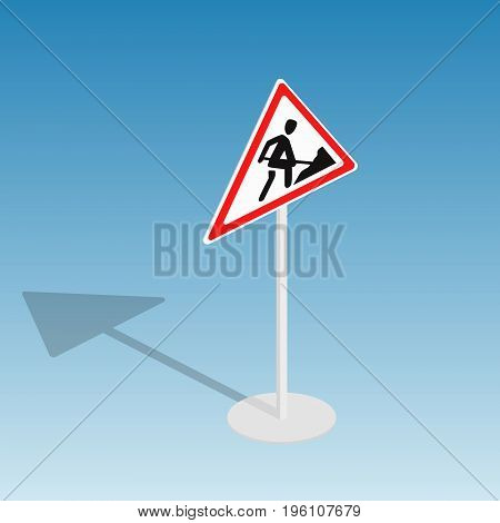 Road sign roadworks isometric style colorful vector illustration