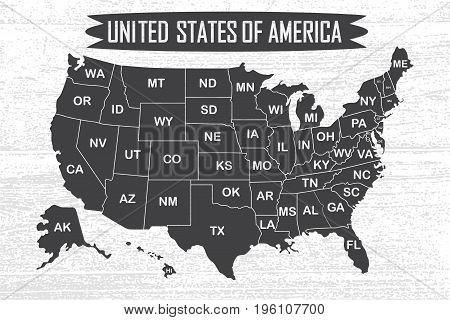 Poster map of United States of America with state names. Black and white print map of USA for t-shirt, poster or geographic themes. Hand-drawn font and black map with states. Vector Illustration.