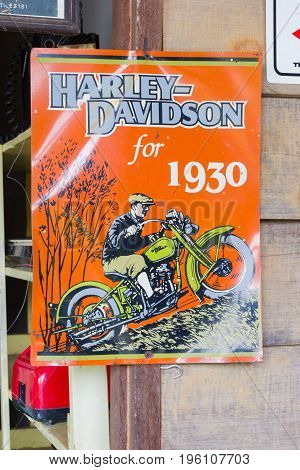 BANGKOK THAILAND - JULY 14 : vintage retro poster of  Davidson advertisement for 1930 on July 14 2017 in Bangkok Thailand