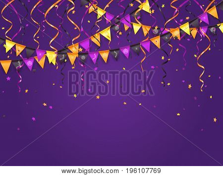 Halloween violet background with multicolored pennants, streamers and confetti, illustration.