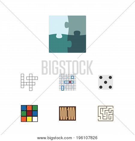 Flat Icon Entertainment Set Of Backgammon, Cube, Dice And Other Vector Objects