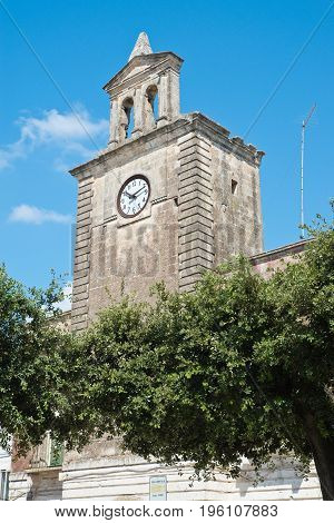 Perspective of a Clocktower of Mottola. Puglia. Italy.