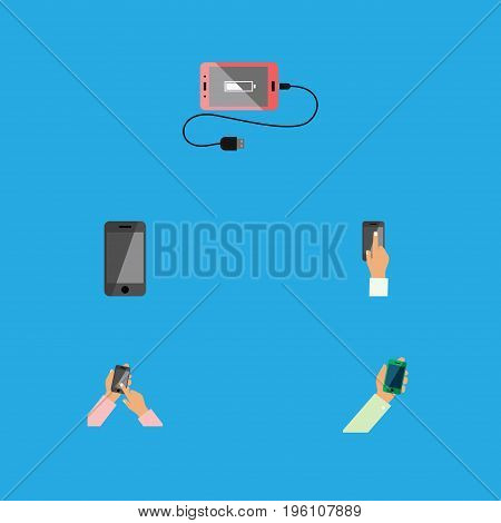 Flat Icon Smartphone Set Of Accumulator, Touchscreen, Telephone And Other Vector Objects