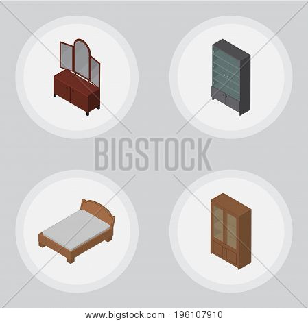 Isometric Furniture Set Of Sideboard, Drawer, Cabinet And Other Vector Objects