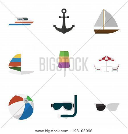 Flat Icon Season Set Of Ship Hook, Boat, Surfing And Other Vector Objects