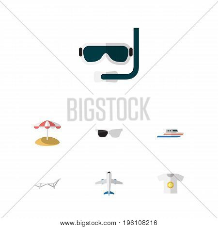 Flat Icon Beach Set Of Aircraft, Clothes, Deck Chair And Other Vector Objects