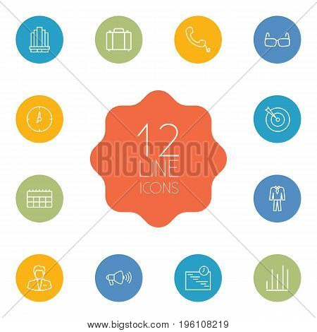 Set Of 12 Management Outline Icons Set