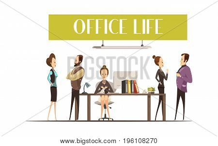 Office life design with upset secretary at workplace and cheerful staff members during talk vector illustration