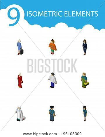 Isometric Human Set Of Medic, Female, Hostess And Other Vector Objects
