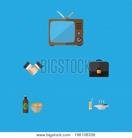 Flat Icon Life Set Of Briefcase, Beer With Chips, Television And Other Vector Objects