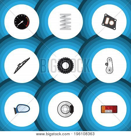 Flat Icon Auto Set Of Gasket, Windshield, Tachometr And Other Vector Objects