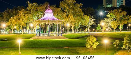Elder Park Rotunda illuminated at night in Elder Park Adelaide South Australia