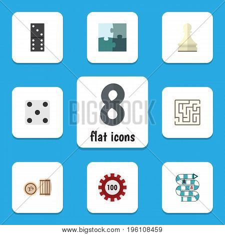 Flat Icon Games Set Of Multiplayer, Bones Game, Pawn And Other Vector Objects