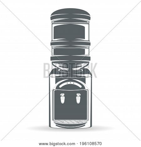 Water bottle with cooler isolated on white background, monochrome style, vector
