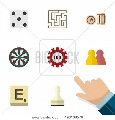 Flat Icon Entertainment Set Of Labyrinth, Arrow, Pawn And Other Vector Objects