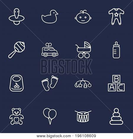 Set Of 16 Child Outline Icons Set