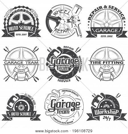 Set of nine garage team logo isolated on white background, vector