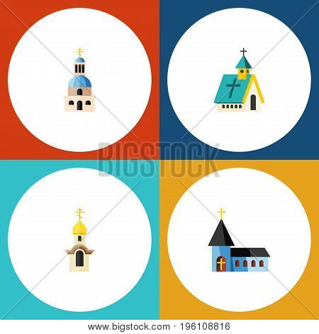Flat Icon Church Set Of Church, Architecture, Structure And Other Vector Objects