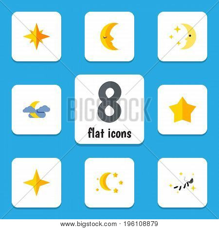 Flat Icon Bedtime Set Of Starlet, Night, Nighttime And Other Vector Objects