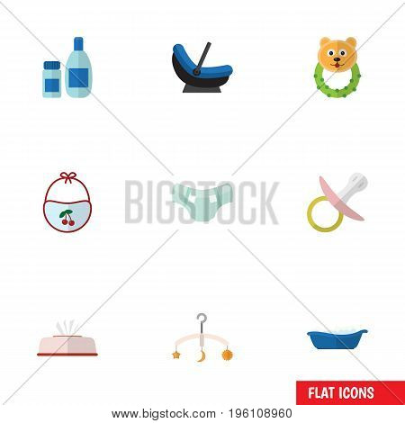 Flat Icon Child Set Of Cream With Lotion, Pinafore, Rattle And Other Vector Objects