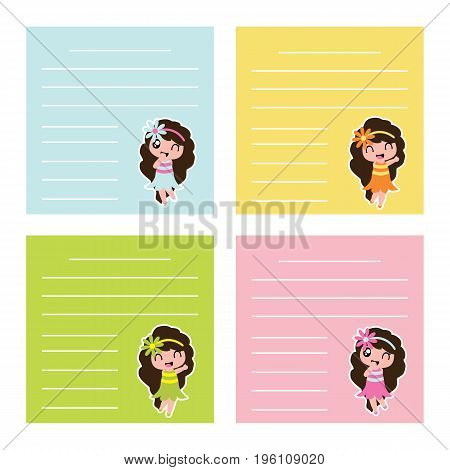 Colorful memo paper with cute hawaiian girls on colorful background vector cartoon for kid memo paper and notebook paper