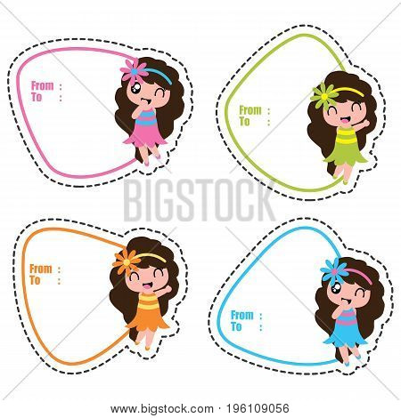 Birthday gift tags with cute hawaiian girls on colorful frames vector cartoon for kid birthday tag and label