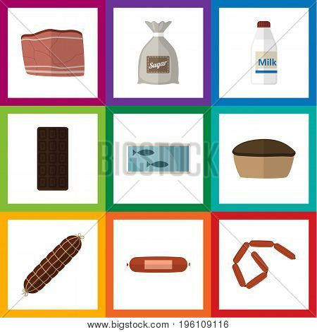Flat Icon Meal Set Of Kielbasa, Confection, Sack And Other Vector Objects