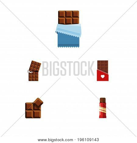 Flat Icon Sweet Set Of Cocoa, Chocolate, Bitter And Other Vector Objects