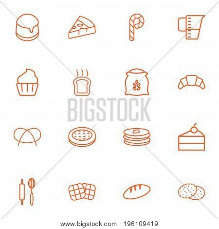 Set Of 16 Pastry Outline Icons Set