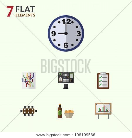 Flat Icon Lifestyle Set Of Beer With Chips, Boardroom, Whiteboard And Other Vector Objects