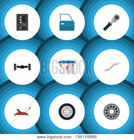 Flat Icon Workshop Set Of Tire, Coupler, Lifting And Other Vector Objects
