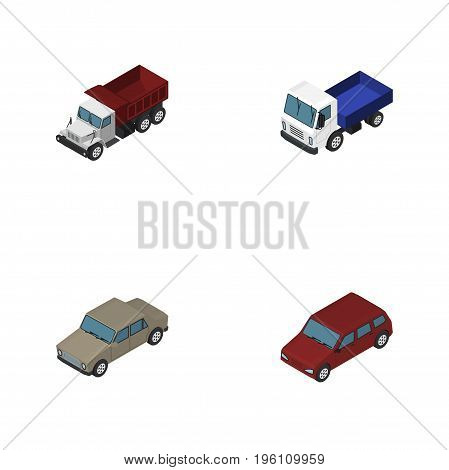 Isometric Transport Set Of Freight, Auto, Lorry And Other Vector Objects