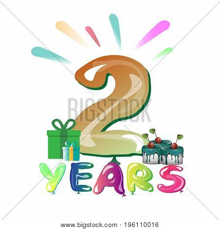 The second anniversary. Bright icon with balloons vector illustration
