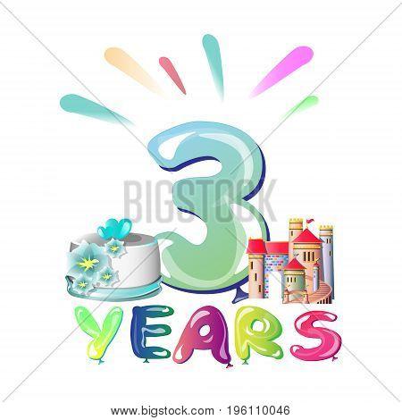 Balloons on the third anniversary. Vector illustration