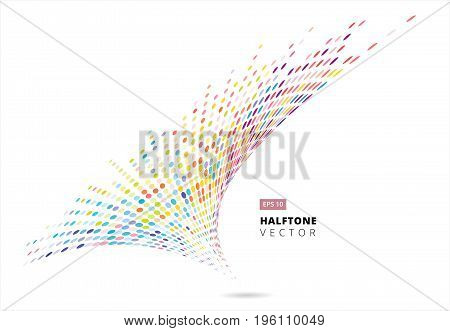 Abstract halftone spiral rainbow dots pattern perspective storm colorful isolated on white background vector illustration