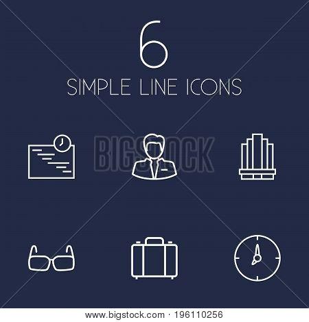 Set Of 6 Management Outline Icons Set