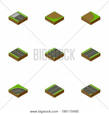 Isometric Road Set Of Rotation, Turn, Down And Other Vector Objects