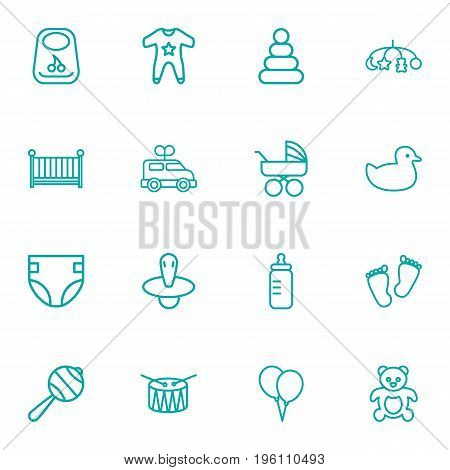 Set Of 16 Baby Outline Icons Set